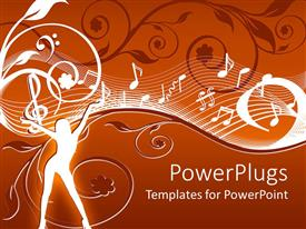 PowerPlugs: PowerPoint template with abstract depiction of a lady with music themes on a floral background