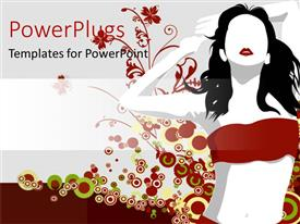 PowerPoint template displaying abstract depiction of a lady on a red flower background