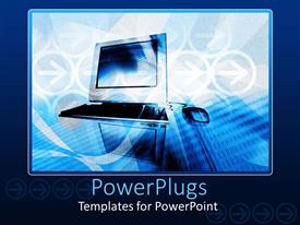 PowerPoint template displaying abstract depiction of a laptop on a white and blue background