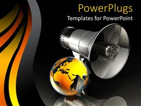 PowerPlugs: PowerPoint template with abstract depiction of large black mega phone with a gold colored globe
