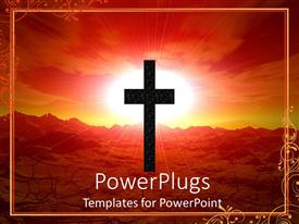 PowerPoint template displaying abstract depiction of a large cross with a shinning red background
