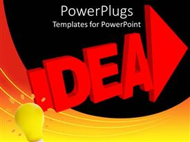 PowerPoint template displaying abstract depiction of a large idea text and a light bulb