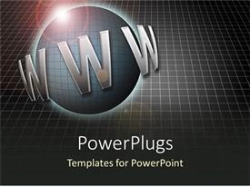 PowerPoint template displaying abstract depiction with large www text and a shinning globe