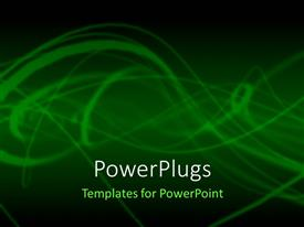 PowerPlugs: PowerPoint template with abstract depiction with light green smokey lines on green background