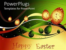 PowerPlugs: PowerPoint template with abstract depiction of lots of green and gold Easter eggs