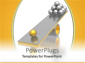 PowerPoint template displaying abstract depiction of lots of silver and gold balls