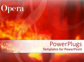 PowerPlugs: PowerPoint template with abstract depiction of musical notes on  red fiery background