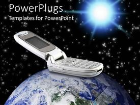 PowerPlugs: PowerPoint template with an abstract depiction of an open mobile phone ontop of a globe