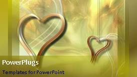 PowerPoint template displaying an abstract depiction of a pair of hearts moving together