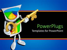 PowerPlugs: PowerPoint template with abstract depiction of a pie chart  human holding a gold key