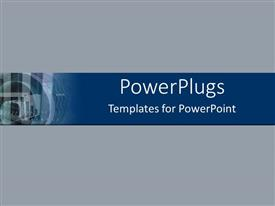 PowerPoint template displaying abstract depiction of a plain grey and blue colored background