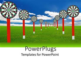 PowerPlugs: PowerPoint template with abstract depiction of may red and white dart boards