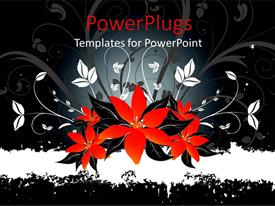 PowerPoint template displaying abstract depiction of red and white floral design on black background