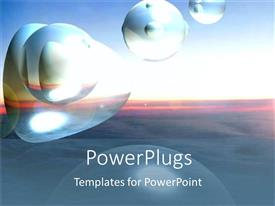 PowerPlugs: PowerPoint template with an abstract depiction of shapeless bubbles on a sunset background