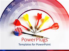 PowerPoint template displaying abstract depiction of target with American flag and yellow, red, US flag darts on white background