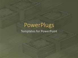 PowerPoint template displaying an abstract depiction of three bundles of dollar bills