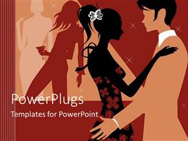 PowerPoint template displaying abstract depiction of two lovers dancing and celebrating on a party scene
