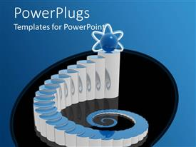 PowerPlugs: PowerPoint template with abstract depiction of white beautiful stairs on black background