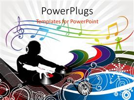 PowerPoint template displaying abstract description of a dj man playing tunes , with music signs