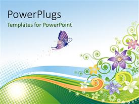 PowerPlugs: PowerPoint template with an abstract design of a colorful floral background with a purple butterfly