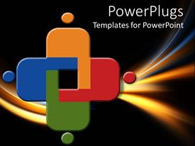 PowerPlugs: PowerPoint template with abstract design with colors and four round dots on black and gold