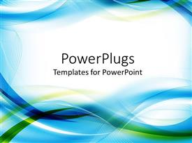 PowerPlugs: PowerPoint template with abstract design combining shades of blue and green in interchanging lines and waves