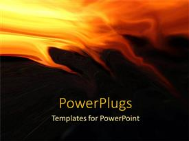 PowerPlugs: PowerPoint template with abstract design depicting fire flames at the top of the background with yellow, orange and red flames getting into the black background