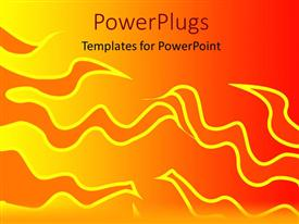 PowerPoint template displaying abstract design of fire on orange background