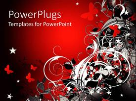 PowerPlugs: PowerPoint template with abstract design of flowers and butterflies in red, white and black on red background