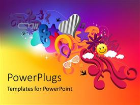 PowerPlugs: PowerPoint template with an abstract design of lots of 2D shapes and objects