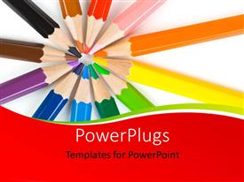 PowerPoint template displaying an abstract design with a macro of multicolored pencils over white background