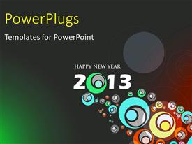 PowerPlugs: PowerPoint template with abstract design for new year 2013 with circles on grey surface