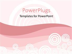 PowerPoint template displaying abstract design representing retro theme on pink shades and white background