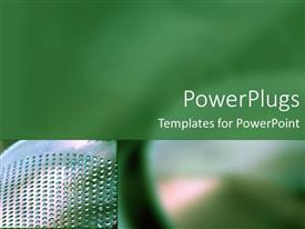 PowerPoint template displaying abstract design, two depictions of steel tools, blurred depiction, green background