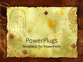 PowerPoint template displaying an abstract of a designed paper with a girl praying