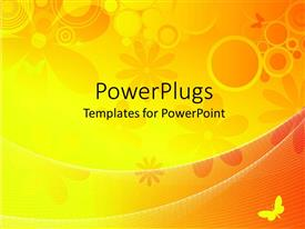 PowerPoint template displaying abstract designs of yellow flowers, bubbles and a butterfly