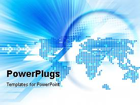 PowerPlugs: PowerPoint template with an abstract of a digital blue colored world map