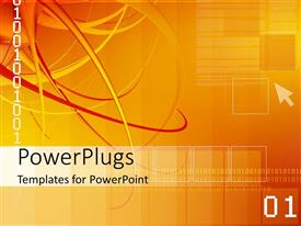PowerPlugs: PowerPoint template with abstract digital depiction with binary digits on yellow surface