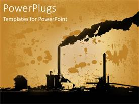 PowerPoint template displaying abstract drawing of a power plant emitting thick smoke