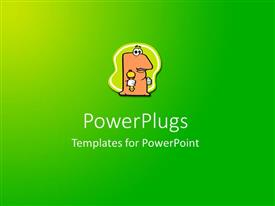 PowerPoint template displaying abstract field of green with centeredcartoon character