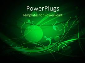 PowerPlugs: PowerPoint template with abstract floral background with circles and folds on green background