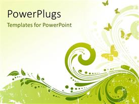 PowerPlugs: PowerPoint template with abstract floral background element and butterflies on green background