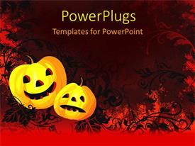 PowerPoint template displaying abstract floral background with scary carved faces on apples