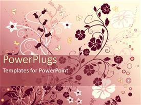 PowerPoint template displaying abstract floral pattern with various sizes and shapes on gradient pink background