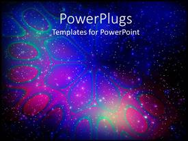 PowerPlugs: PowerPoint template with abstract flower in light, stars on galaxy sky, blue, pink, black background