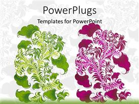 PowerPoint template displaying abstract folk design in green and purple on bright background