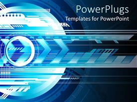 PowerPlugs: PowerPoint template with abstract futuristic depiction of technology with arrows and layers of 3D technology