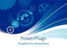 PowerPlugs: PowerPoint template with abstract gears rotation on a blue and white background