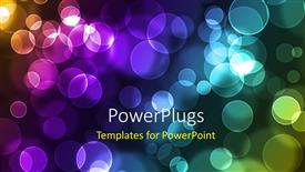 PowerPoint template displaying abstract glowing colorful circles on a dark background