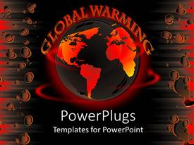 PowerPlugs: PowerPoint template with abstract gold and orange colored globe with global warming text